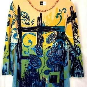 BamBooco womens embellished top size L multi color